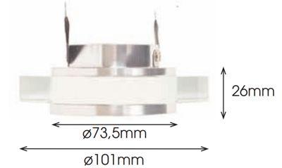 Dimensiones aro empotrable redondo cristal óptico y aluminio