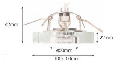Dimensiones aro empotrable cuadrado aluminio y cristal óptico