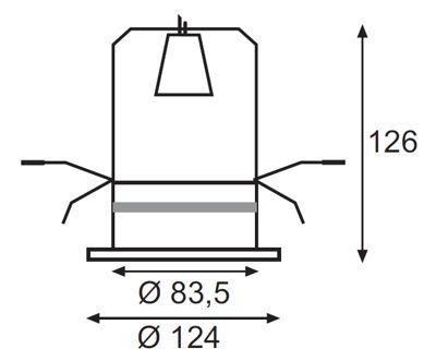 Dimensiones de Aro empotrable para bombilla R80 E27